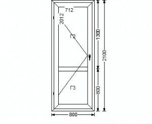 Дверь балконная 2100х800 мм, ПВХ 5-ти кам., энергосберег. infrus.ru